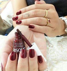 Love Nails, Pretty Nails, Dark Red Nails, Nail Polish Art, Nail Arts, Nail Inspo, Wedding Nails, Nails Inspiration, Manicure