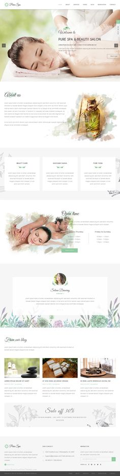 PURE is perfectly responsive beautiful spa and beauty WordPress theme for beauty salons, wellness centers, #SPA, #massage and other health and beauty related #websites.