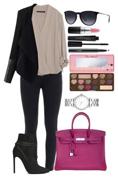 Untitled #1350 by fabianarveloc on Polyvore featuring polyvore fashion style Zara Relaxfeel Paige Denim Yves Saint Laurent Hermès Marc by Marc Jacobs Ray-Ban Too Faced Cosmetics Smashbox MAC Cosmetics clothing