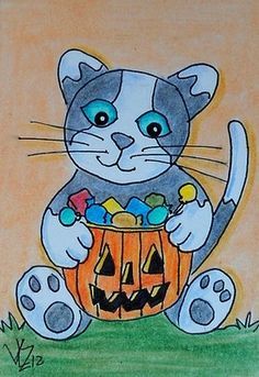 KITTY WITH HALLOWEEN CANDY ACEO ON EBAY