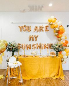 This mama gathered the sun & the stars for her son's sunshine themed birthday party #onIBTtoday! She used trendy hues of golden yellow and burnt orange for a party everyone would enjoy! See it all at the link in our bio Design @amanda.az Photography @amanda.azphoto Flowers @floralconstructionco Cake @bakedbychristinatrieu Cookies @sweettakes Invitation and Thank you Tags @kisstheskyco Sunflower Birthday Parties, 1st Birthday Party For Girls, Baby Party, Baby Birthday, Sunflower Party Themes, Hippie Birthday, 25th Birthday Ideas For Her, Baby First Birthday Themes, Orange Birthday Parties