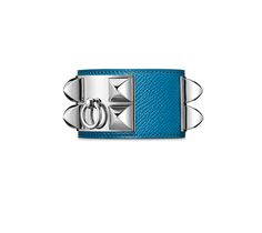 """Collier de Chien Hermes iconic leather bracelet (size S) Epsom calfskin<br />Palladium plated hardware, 2.25"""" diameter, up to 6.7"""" circumference<br />Color: Izmir blue"""
