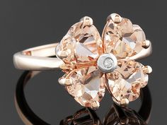 2.20ctw Heart Cor-de-rosa Morganite With .01ct One White Diamond Accent 10k Rose Gold Ring