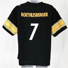 7cded288f Reebok NFL Pittsburgh Steelers Ben Roethlisberger Black Jersey Size M