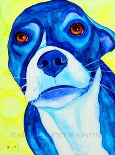 Blue Dog Painting  Original Watercolor by rachelspetpaintings, $150.00
