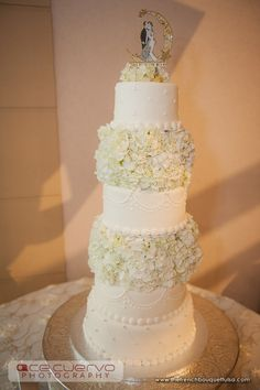 White Hydrangea Real Wedding Cake Blooms - The French Bouquet - Ace Cuervo Photography
