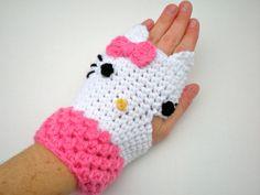 PADRÃO: Luvas Kitty, luvas sem dedos, criança ...  /    PATTERN:  Kitty Gloves, fingerless mitts, toddler, kid, teen, adult, easy crochet PDF. $5.00, via Etsy.