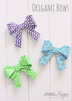 Origami Bows #origami #bows (here is the link to the origami instructions which is also in the blog: http://www.origami-instructions.com/origami-bow.html)