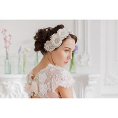 Mirella Bridal Headpiece - Couture – Roman & French - Leader in Bridal Jewellery, Wedding Hair Accessories, Bridesmaids Dresses and Wedding Gifts. Headpiece Wedding, Bridal Headpieces, Loose Hairstyles, Wedding Hairstyles, Pearl And Lace, White Beads, Wedding Hair Accessories, Bridal Jewelry, Wedding Styles