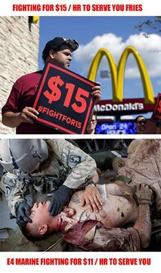 Why are our military's wages so low and polititians setting on their butts messing things up so high?