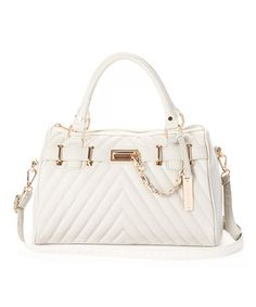 Look what I found on #zulily! Cesca Stone & Gold Chevron Quilted Satchel by Cesca #zulilyfinds