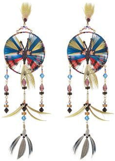 Valentino Feather and Bead Embellished Earrings Gr. ONE SIZE