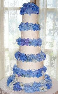 White round tiers separated with hydrangeas between. This one has smaller separation between tiers than the similar cake to the left.