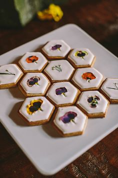 Hexagon floral cookies