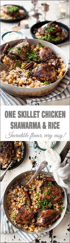 One Skillet Oven Baked Chicken Shawarma and Rice Pilaf One Skillet Baked Chicken Shawarma and Rice – two Middle Eastern favorites made in one skillet! Chicken Shawarma with punchy flavours and a delicately fragrant rice pilaf with chickpeas. Shawarma, Oven Baked Chicken, Skillet Chicken, Chicken Pizza, Skillet Meals, Chicken Curry, Chicken Rice, Chicken Enchiladas, Lemon Chicken