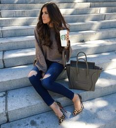 Chunky sweater + distressed jeans. Again.
