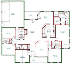 Single Story Open Floor Plans | ... Plan, Single Level One Story Ranch House…
