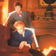 """Arcaida (1985-86), during the making of """"The Flame"""" music video. Simon LeBon and Nick Rhodes."""