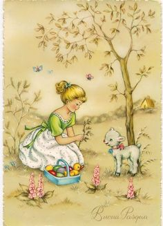 Vintage Greeting Cards, Vintage Christmas Cards, Vintage Postcards, Fete Pascal, Flower Fairies Books, Illustrations Vintage, Easter Illustration, Easter Garland, Family Painting
