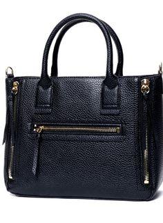 Black Zipper PU Tote Bag