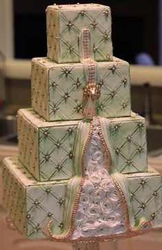Tiered Green Textured Cake with Zipper Detail, by Joshua John Russell