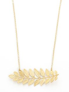 Horizontal Leaf Pendant Necklace by Privileged
