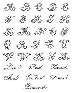 Antique fancy full alphabet french days of the week 5 x files jpg png transparent and reverse mirror images hand embroidery sewing pattern Some new sample work in walnut ink on translucent yupo (a polypropylene synthetic paper). Tattoo Fonts Alphabet, Cursive Alphabet, Tattoo Lettering Fonts, Hand Lettering Alphabet, Graffiti Lettering, Fancy Fonts Alphabet, Capital Alphabet, Fancy Letters, Tattoo Script
