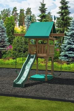 Amish Happy Space Saver Swing Set Play Mor Swing Set Collection Why let the size of your backyard define the possibilities? Many people with small backyards are often left in the dust when it co Kids Outdoor Play, Backyard For Kids, Backyard Ideas, Small Swing Sets, Wooden Swings, Small Backyard Landscaping, Landscaping Ideas, Sloped Backyard, Landscaping Software