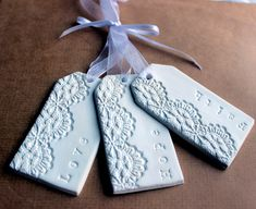 Clay Tags - Faith Hope Love - Lacey Embossed Clay  Gift Tags/Decorations  (3)