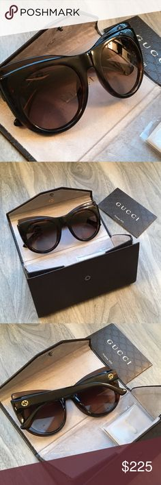 Gucci brown Cat Eye sunglasses NWT Gucci brown sunglasses NWT. Will come with case. Super cute. The glasses case even folds into a nice envelope Gucci Accessories Sunglasses