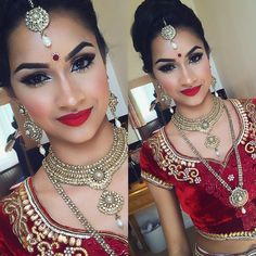 My beautiful bride Chandani on her Hindu wedding can't wait to create her second look later on in the evening! Hair and makeup @anniebmua Went for a striking look and neon red lip! She looked amazing! Her outfit was from London not sure I think it's @bibildn Jewellery @avaricouture