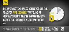 Do you know how long your eyes are off the road while texting while driving? Here's Reason 44 not to text & drive Texting While Driving, Distracted Driving, Driving School, Dont Text And Drive, First Aid Tips, Trauma Center, Football Field, Back Off, Text Messages