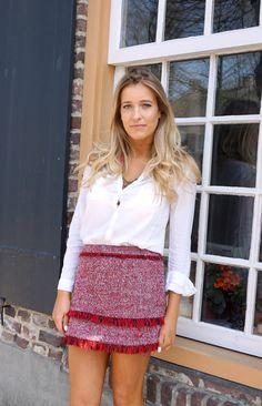 Outfit Red Skirt Mango Nikki Bergmans