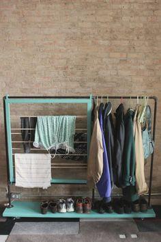Split the Lark's DIY hanging-slash-drying rack on wheels is multifunctional.