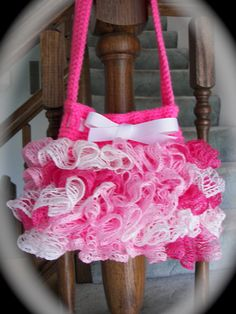 Sashay yarn purse | Pink Sashay Ruffle Purse Accessory Purse for Your Little Girl Sashay ...