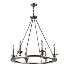 ELK 6-Light Chandelier in Satin Nickel