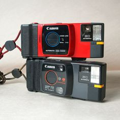 CANNON 2 PACK // VINTAGE Camera Collection // Retro Cameras // Cannon // Bright // Red // Snappy // 1980s // Vintage Film Cameras