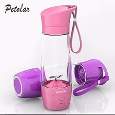 The portable juicer is a mini portable blender with mobile power bank. It is lightweight and useful to carry when you go out. It material is food grade trian pp. You can make juice at home. It is also a good gift for you.There are four colors for choice, which including pink, blue, purple &