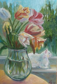 White Cat in Window  Bouquet  tulips oil  White cat Original oil painting Still Life Wall art Animalism Catlover gift interior artwork by ArtannaStore on Etsy