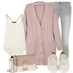 Pink V Neck Long Sleeve Cable Knit Cardigan