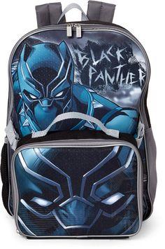"""Marvel Avengers Black Panther Kids Boys 16/"""" School  Backpack /& Lunch Bag Set"""