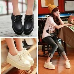 WOMENS LADIES Retro Platform Lace Up Flats Creepers Goth Punk Shoes UK Size 3-6 | eBay