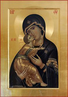 - Maica Domnului din Vladimir - X 77 cm Religious Pictures, Religious Icons, Religious Art, Orthodox Catholic, Catholic Art, Byzantine Art, Byzantine Icons, Religion, Illumination Art