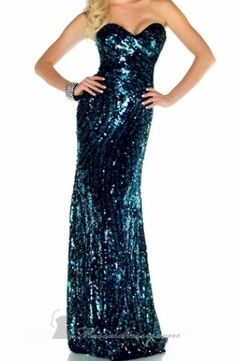 Black and Blue Strapless Sequin Prom Dress