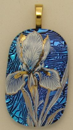 Beautiful Iris Dichroic fused Glass Pendant | eBay