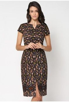 Ikat Printed Batik Front Slit Midi Dress from ASANA in black