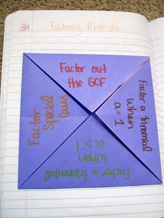 Math = Love: Foldable Love Factoring Quadratic Expressions