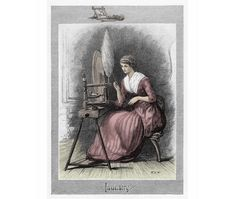 Hand coloured Victorian Lady engraving at a spinning wheel coloured Victorian Fashion Ladies pastimes fashion ephemera Best gift for Mom