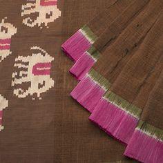 Brown Linen w Pink silk border, Ikat elephant & zari pallu -emerald green blouse.