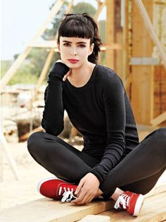 Krysten Ritter black on black...those bangs look so good on her...
